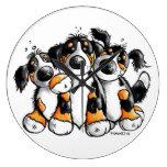 Three Funny Bernese Mountain Dogs Wall Clock