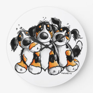 Three Funny Bernese Mountain Dogs Wall Clock