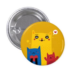 Three Funny Cat Friends Pinback Button