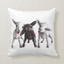 Three Funny Cheeky Sheep Throw Pillow