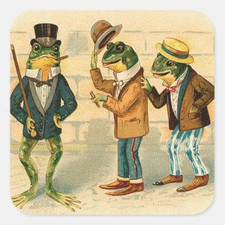 Three Funny Frogs Square Sticker