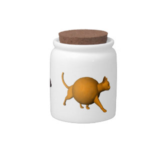 Three Funny Fruit Cats Candy Jar