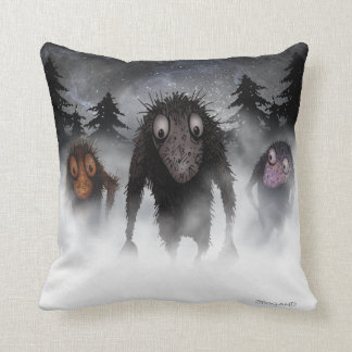 Three funny hairy monster trolls throw pillow