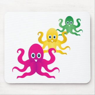 Three funny octopies mouse pad