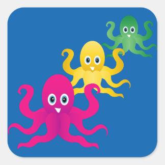 Three funny octopies square sticker