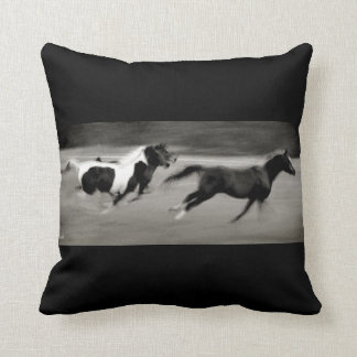 Three Galloping Horses Throw Pillow