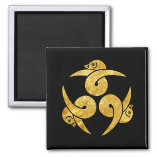 Three Geese Japanese Kamon gold on black Magnet