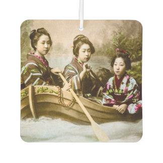Three Geisha in a Row Boat Vintage Glass Slide Air Freshener