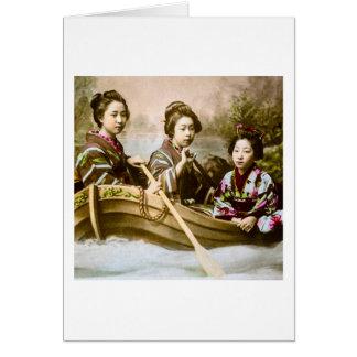 Three Geisha in a Row Boat Vintage Glass Slide Card