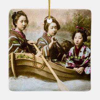 Three Geisha in a Row Boat Vintage Glass Slide Ceramic Ornament
