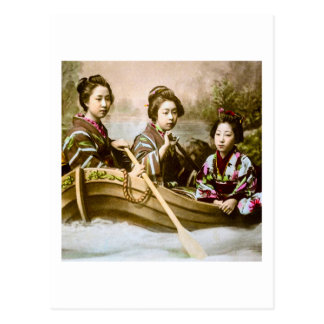 Three Geisha in a Row Boat Vintage Glass Slide Postcard