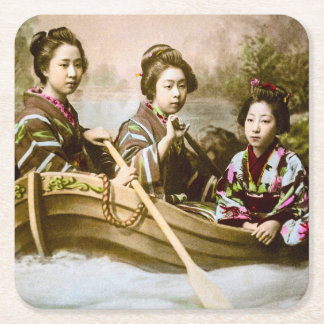 Three Geisha in a Row Boat Vintage Glass Slide Square Paper Coaster