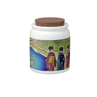 Three Geishas By the Water Japanese Woodblock Art Candy Jars
