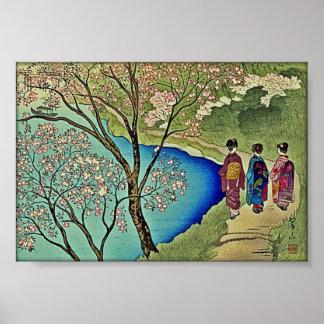 Three Geishas by the Water Japanese Woodblock Art Poster