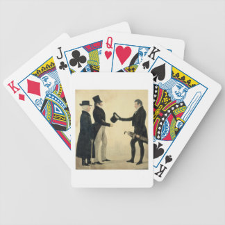 Three Gentlemen Greeting Each Other (w/c and ink w Bicycle Playing Cards