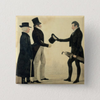 Three Gentlemen Greeting Each Other (w/c and ink w Button