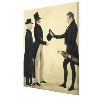 Three Gentlemen Greeting Each Other (w/c and ink w Canvas Print