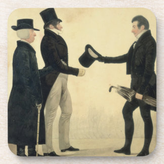 Three Gentlemen Greeting Each Other (w/c and ink w Drink Coaster