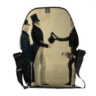 Three Gentlemen Greeting Each Other (w/c and ink w Courier Bag