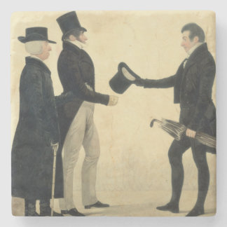 Three Gentlemen Greeting Each Other (w/c and ink w Stone Coaster