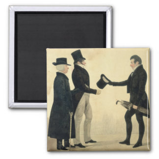 Three Gentlemen Greeting Each Other (w/c and ink w Magnet