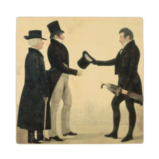 Three Gentlemen Greeting Each Other (w/c and ink w Wood Coaster