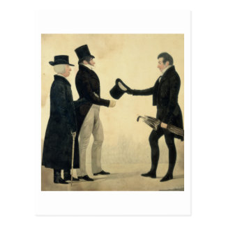 Three Gentlemen Greeting Each Other (w/c and ink w Postcard