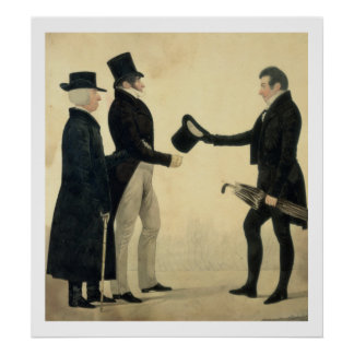 Three Gentlemen Greeting Each Other (w/c and ink w Poster