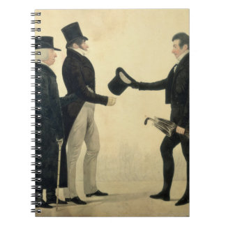 Three Gentlemen Greeting Each Other (w/c and ink w Spiral Notebooks