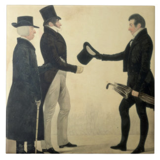 Three Gentlemen Greeting Each Other (w/c and ink w Tile