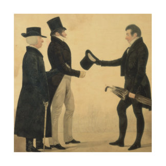 Three Gentlemen Greeting Each Other (w/c and ink w Wood Print