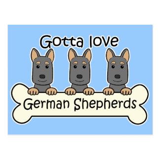 Three German Shepherds Postcard