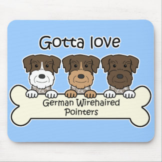 Three German Wirehaired Pointers Mousepad