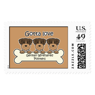 Three German Wirehaired Pointers Stamp