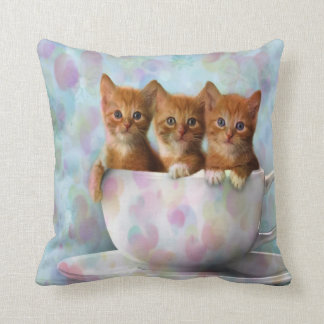 Three Ginger Kittens in a Cup - Cute as! Throw Pillow