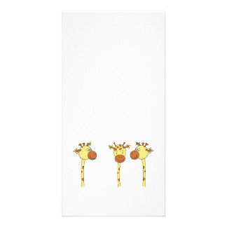 Three Giraffes Cartoon. Photo Card Template