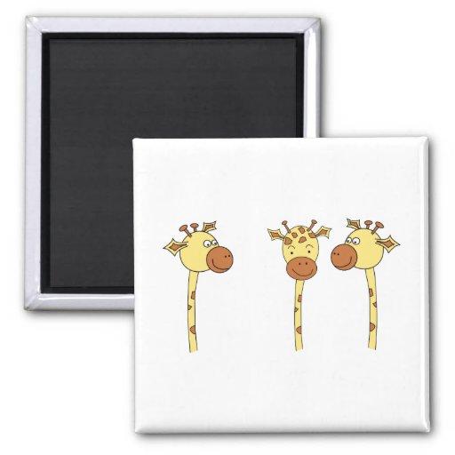 Three Giraffes Cartoon. Refrigerator Magnet