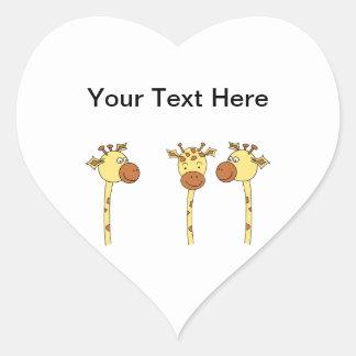 Three Giraffes Cartoon. Heart Sticker