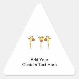 Three Giraffes Cartoon. Triangle Sticker
