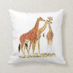 Three Giraffes Illustration Throw Pillow