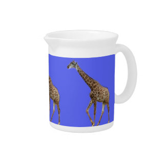 Three giraffes in blue background beverage pitcher