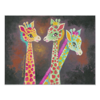 Three Giraffes Poster