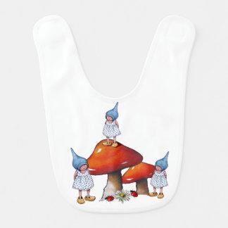Three Girl Gnomes: Triplets or Sisters, Fantasy Baby Bib