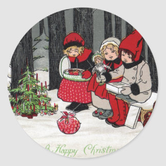 Three Girls and a Christmas Tree in the Forest Classic Round Sticker