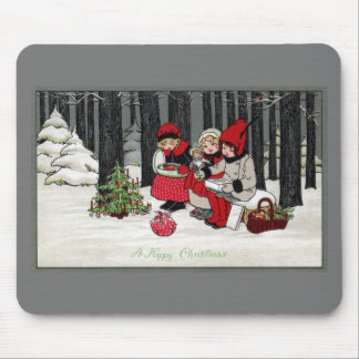 Three Girls and a Christmas Tree in the Forest Mouse Pad