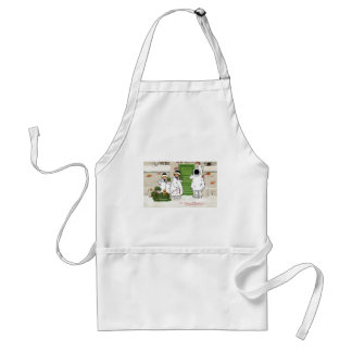 Three Girls and Pig in Sled Vintage Christmas Adult Apron