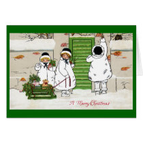 Three Girls and Pig in Sled Vintage Christmas Card