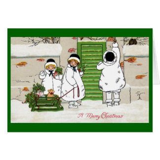 Three Girls and Pig in Sled Vintage Christmas Greeting Card