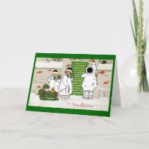 Three Girls and Pig in Sled Vintage Christmas Holiday Card