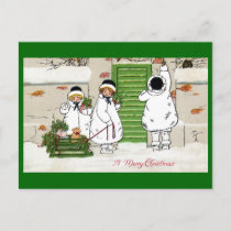 Three Girls and Pig in Sled Vintage Christmas Holiday Postcard